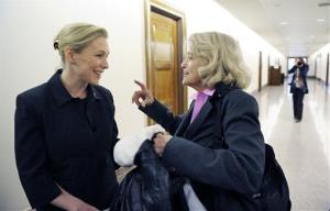 Sen. Kirsten Gillibrand, left, speaks with Edith Windsor, prior to a news conference to announce the introduction of a Senate bill to repeal the Defense of Marriage Act earlier this year.