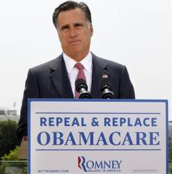 In this June 28, 2012, file photo, Mitt Romney speaks about the Supreme Court's health care ruling in Washington.