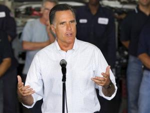 Mitt Romney talks about jobs during a campaign stop at Middlesex Truck and Coach on Thursday, July 19, 2012, in Roxbury, Mass.