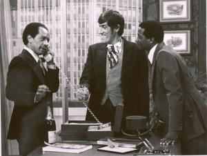 In this 1977 file photo provided by CBS, from left, Sherman Hemsley, Paul Benedict, and Damon Evans star in an episode of The Jeffersons.