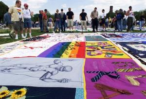 Visitors looking at the AIDS Quilt on exhibit on the Washington Mall from April 29, 2000.