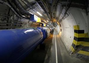 In this May 31, 2007 file photo,  a view of the LHC (large hadron collider) in its tunnel at CERN (European particle physics laboratory) near Geneva, Switzerland.