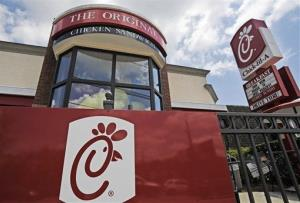 This Thursday, July 19, 2012 photo shows a Chick-fil-A fast food restaurant in Atlanta. Its president, Dan Cathy, confirmed his opposition to gay marriage in June 2012.