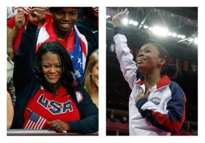This combination of Thursday, Aug. 2, 2012 photos shows Natalie Hawkins, left, and her daughter, Gabrielle Douglas, at the 2012 Summer Olympics in London.