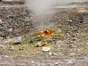 Sulfur emerges from the Phlegraean Fields, a zone similar to the Yellowstone caldera, but much more heavily populated.