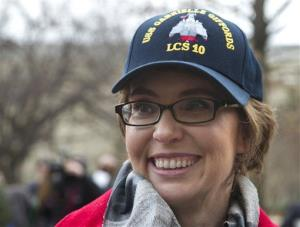 Former Arizona Rep. Gabrielle Giffords attends a ceremony at the Pentagon, Friday, Feb. 10, 2012, for the unveiling of the USS Gabrielle Giffords.
