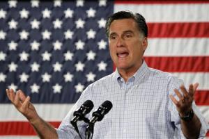 Republican presidential candidate, former Massachusetts Gov. Mitt Romney campaigns at Central Campus High School in Des Moines, Iowa, Wednesday, Aug. 8, 2012.