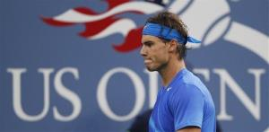 This Sept. 12, 2011 file photo shows Rafael Nadal of Spain reacting during the championship match at the US Open tennis tournament in New York.