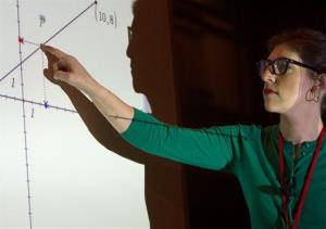 In this photograph taken by AP Images for Texas Instruments, actress and scientist Mayim Bialik teaches a math session at the Texas Instruments annual conference in Chicago in March.