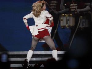U.S. singer Madonna performs during her concert at concert Hall in St. Petersburg, Russia, Thursday, Aug. 9, 2012.