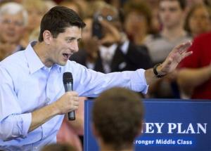 FILE - In this Aug. 16, 2012 file photo, Republican vice presidential candidate Rep. Paul Ryan, R-Wis. speaks at a campaign stop at Walsh University in North Canton, Ohio. Democrats are eagerly renewing their fight against privatizing Social Security now that Republican presidential candidate Mitt Romney has picked Paul Ryan...