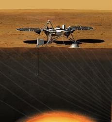 This image from NASA shows an artist's rendition of the InSight (Interior exploration using Seismic Investigations, Geodesy and Heat Transport) Lander.