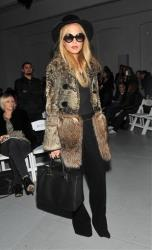 Stylist Rachel Zoe poses before the start of the Rodarte Fall 2012 show during Fashion Week in New York, Tuesday, Feb. 14, 2012.