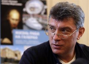 Opposition leader Boris Nemtsov speaks as he present his new report about the wealth of Vladimir Putin.