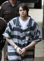 Former Virginia lacrosse player and convicted murderer George Huguely is led to court for his sentencing.