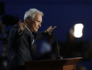 Clint Eastwood gestures while speaking to delegates at the Republican National Convention.