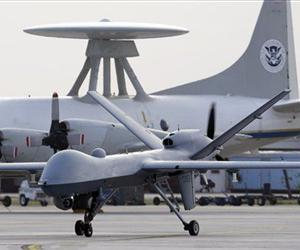 This Nov. 8, 2011 file photo shows a Predator B unmanned aircraft taxis at the Naval Air Station in Corpus Christi, Texas.