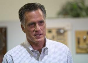 Republican presidential candidate, former Massachusetts Gov. Mitt Romney arrives at LaValley Building Supply Inc., to conduct television interviews, Wednesday, Sept. 5, 2012, in West Lebanon, N.H.