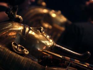 King Tut's golden sarcophagus is displayed at the Egyptian Museum in Cairo, Egypt.