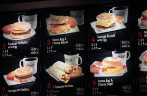Items on the breakfast menu, including the calories, are posted at a McDonald's restaurant, Wednesday, Sept. 12, 2012 in New York.