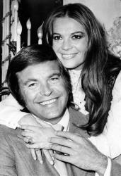 In this April 23, 1972 file photo, actor Robert Wagner and his former wife, actress Natalie Wood, pose at the Dorchester Hotel in London, England.