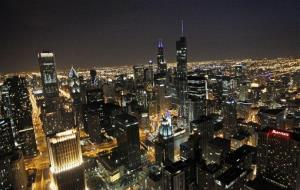 This Saturday, May 19, 2012, photo, shows the Chicago skyline at night.