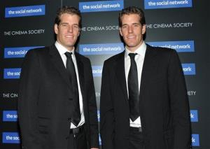 In this Sept. 29, 2010 file photo, twins Cameron Winklevoss and Tyler Winklevoss attend a special screening of 'The Social Network' in New York.