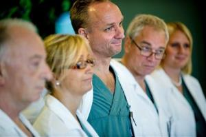 Surgeons involved in the transplants attend a news conference Tuesday at Sahlgrenska hospital in Goteborg, Sweden.