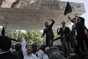 Pakistani lawyers chant anti-U.S. slogans during a demonstration in Islamabad on Wednesday.