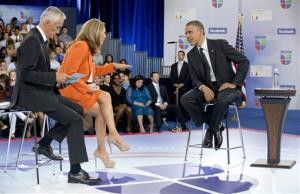 President Obama participates in a town hall hosted by Univision and Univision news anchors Jorge Ramos, left and Maria Elena Salinas at the University of Miami.