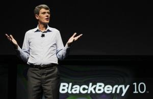 Thorsten Heins, president and CEO of Research in Motion, speaks about the new BlackBerry 10 at the BlackBerry Jam Americas conference in San Jose, Calif.