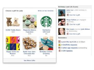 This image provided by Facebook shows a new service called Gifts, which, as its name suggests, lets users send chocolate, coffee, socks, and other real-life presents to one another.