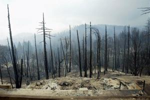 This October 2003 file photo shows damage from the Old Fire as it roared through the community of Cedar Glen in Lake Arrowhead, Calif.