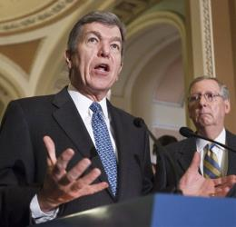 Sen. Roy Blunt, accompanied by Senate Minority Leader Mitch McConnell of Ky., at a news conference in Washington, Tuesday, March 6, 2012.
