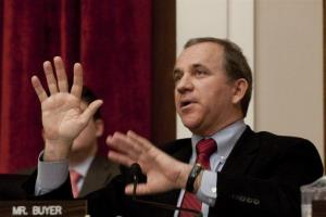 Then Rep. Steve Buyer, R-Ind., asks a question during testimony on Capitol Hill.