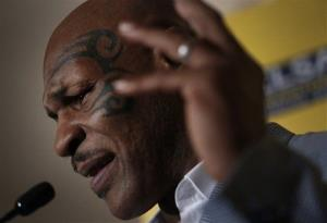 Mike Tyson speaks a press conference at a hotel in Hong Kong last month.
