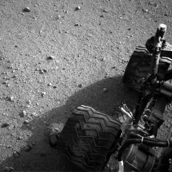 This image released by NASA on Aug. 2 shows Curiosity's wheels after it made its third drive on Mars.