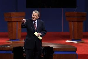Moderator Jim Lehrer  addresses the audience before the first presidential debate at the University of Denver last night.