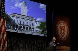 University of Texas president Bill Powers gives the state of the university speech, Thursday, Sept. 27, 2012.