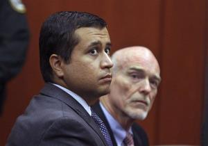 In this June 29 photo, George Zimmerman, left, and attorney Don West appear before Circuit Judge Kenneth R. Lester, Jr. in Sanford, Fla.