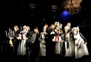 Ensemble members perform during a dress rehearsal for the musical Rebecca at Vienna's Raimund Theatre.