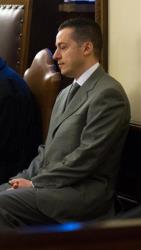 Paolo Gabriele sits in the courtroom of the Vatican tribunal Saturday.