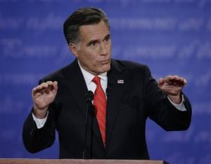 Mitt Romney speaks during the first presidential debate with President Obama at the University of Denver, Wednesday, Oct. 3, 2012.