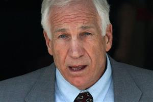 In this June 21, 2012 file photo, former Penn State University assistant football coach Jerry Sandusky leaves the Centre County Courthouse in Bellefonte, Pa.
