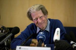 British scientist Sir John Gurdon speaks during a news conference in London yesterday.