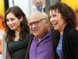 Danny DeVito, center, his daughter Lucy DeVito, left, and wife Rhea Perlman arrive at the premiere of the animated feature film The Lorax in Universal City, Calif. on Sunday, Feb. 19, 2012.
