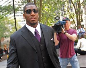 Saints linebacker Jonathan Vilma arrives at NFL headquarters to meet with Roger Goodell about his suspension, Monday, Sep. 17, 2012, in New York.