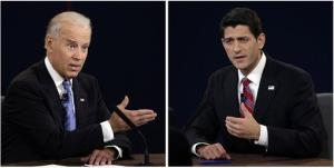 Vice President Joe Biden, left, and Republican vice presidential nominee Paul Ryan face off during the vice presidential debate at Centre College.