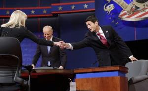 Martha Raddatz greets Paul Ryan at the start of the vice presidential debate last night.