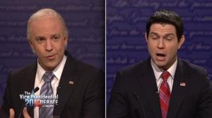 Jason Sudeikis and Taran Killam faced off on SNL's spoof on the vice presidential debate.